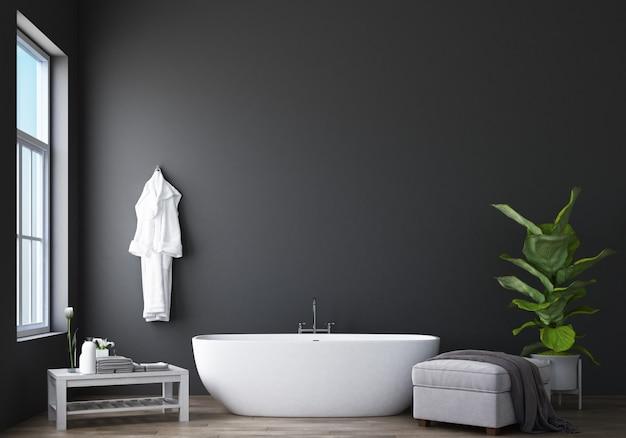 Design del bagno moderno e soppalco con rendering grigio muro 3d Foto Premium