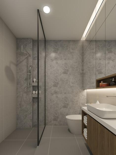 Interior design del bagno. rendering 3d Foto Premium
