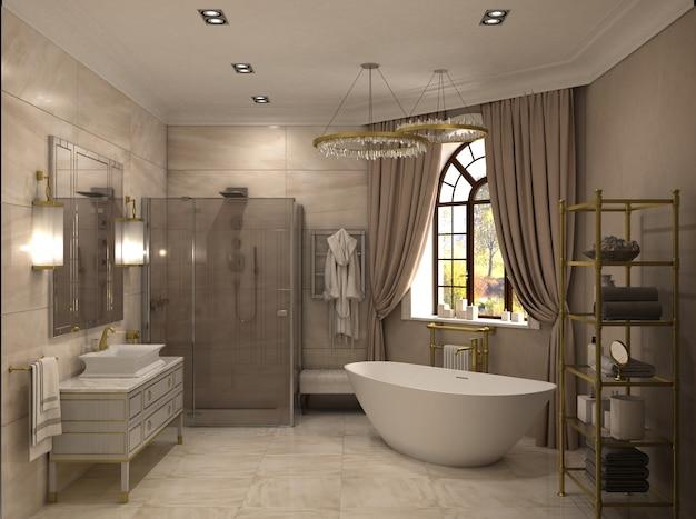 Bagno, visualizzazione interna, illustrazione 3d Foto Premium