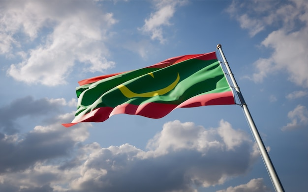 Bella bandiera nazionale dello stato della mauritania che fluttua Foto Premium