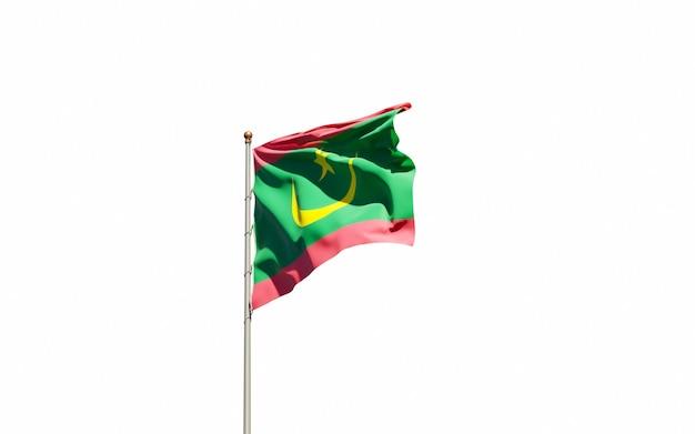 Bella bandiera nazionale dello stato della mauritania Foto Premium