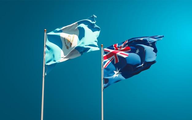 Belle bandiere nazionali dello stato del guatemala e dell'australia insieme Foto Premium
