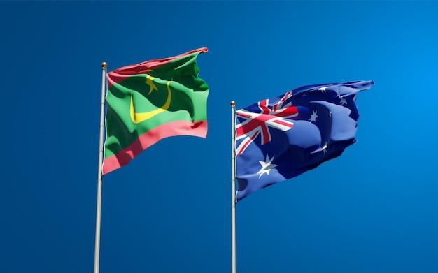 Belle bandiere di stato nazionali della mauritania e dell'australia insieme Foto Premium