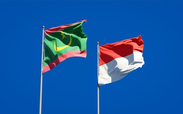 Belle bandiere dello stato nazionale della mauritania e dell'indonesia insieme sul cielo blu Foto Premium