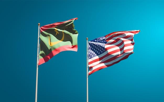 Belle bandiere di stato nazionali della mauritania e degli stati uniti insieme Foto Premium