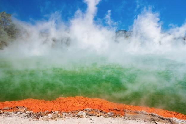 Splendido scenario di terra termale, rotorua, isola del nord, nuova zelanda. Foto Premium