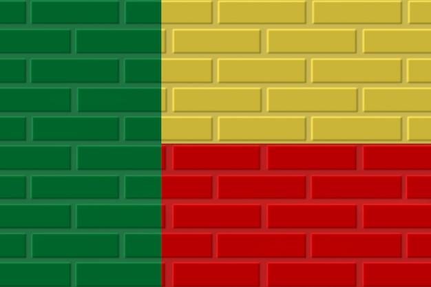 Illustrazione della bandiera del mattone del benin Foto Premium