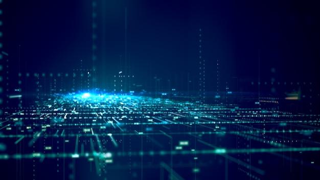 Concetto di big data modello di concetto di codice binario e struttura di big data. Foto Premium