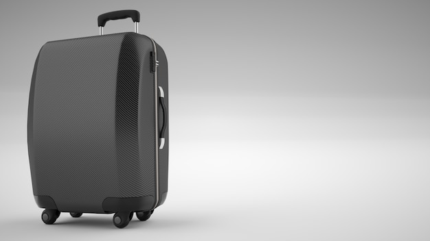 Borsa da viaggio in fibra di carbonio nera isolata su luminoso. rendering 3d Foto Premium