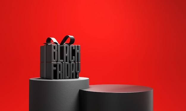 Confezione regalo del black friday con podio. Foto Premium