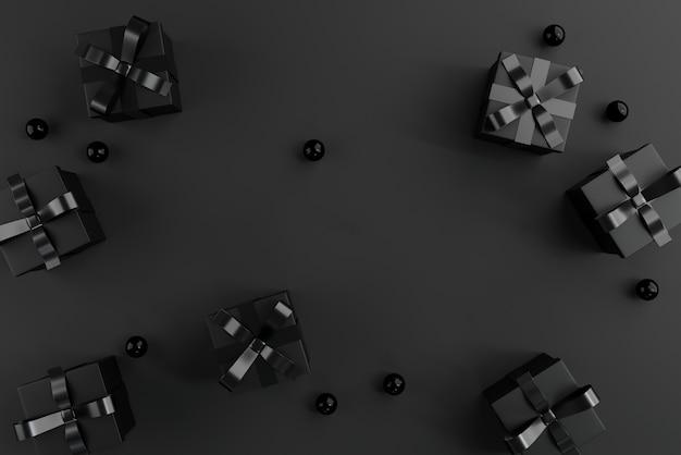 Contenitori di regali neri sul nero. Foto Premium