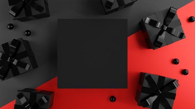 Contenitori di regali neri con spazio in bianco. Foto Premium