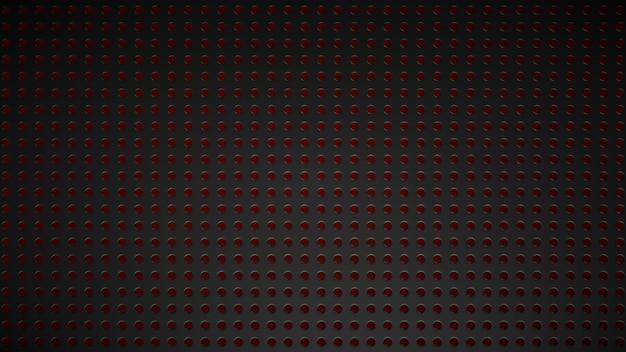 Trama di griglia nera con incavi illuminati in rosso. Foto Premium