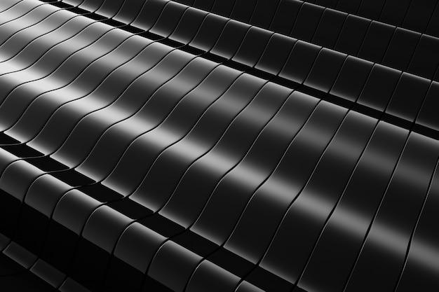 Sfondo astratto ondulato di metallo nero. Foto Premium
