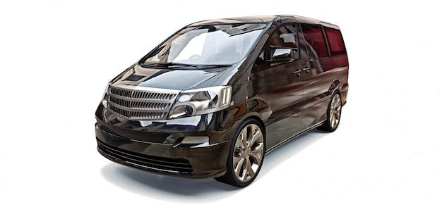 Minivan nero per il trasporto di persone. illustrazione tridimensionale su uno spazio grigio lucido. rendering 3d. Foto Premium