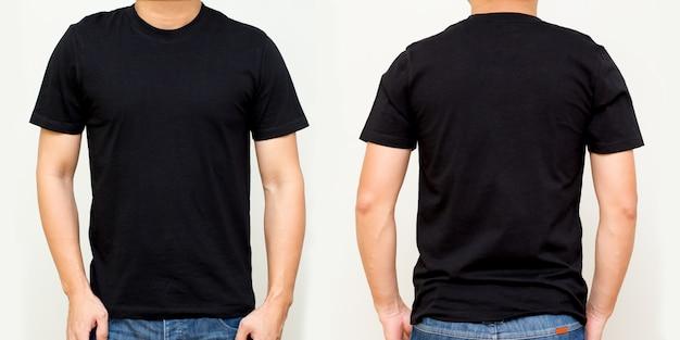 Maglietta nera davanti e dietro, modello finto per la stampa di design Foto Premium