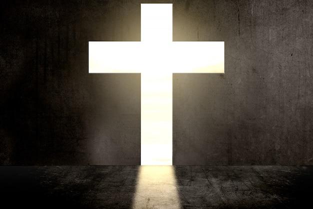 Muro nero a forma di croce cristiana Foto Premium