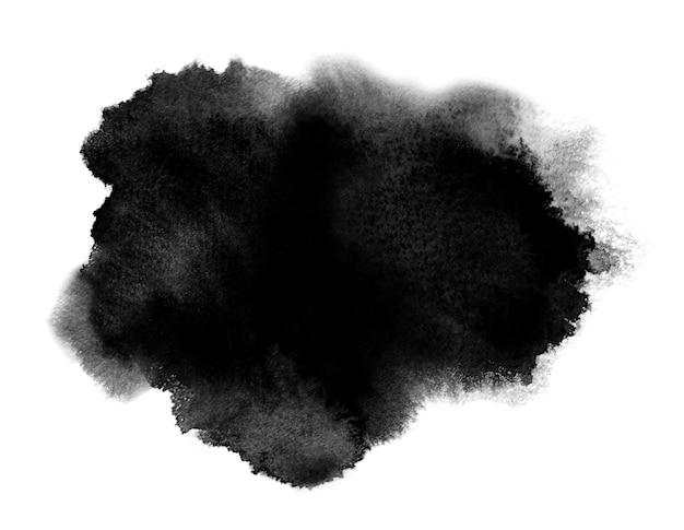 Macchia nera dell'acquerello con schizzi di lavaggio. acquerello Foto Premium