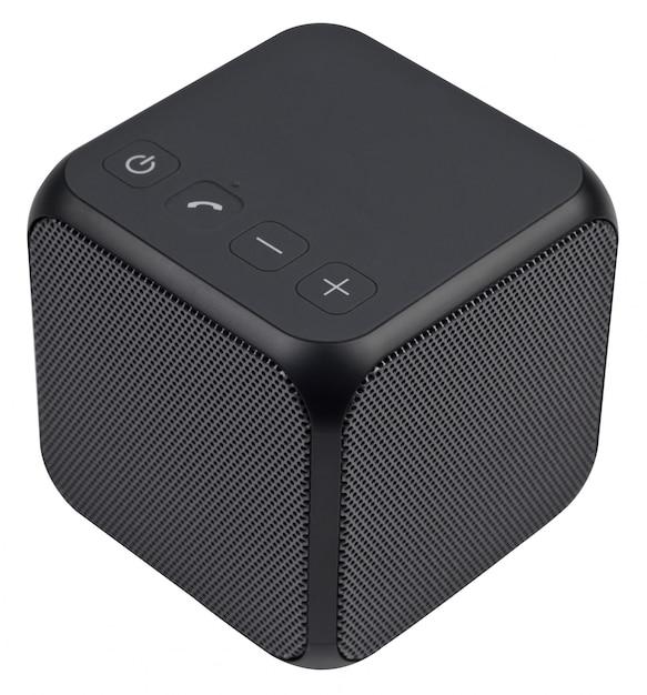 Altoparlante bluetooth portatile wireless nero, isolato su sfondo bianco. Foto Premium