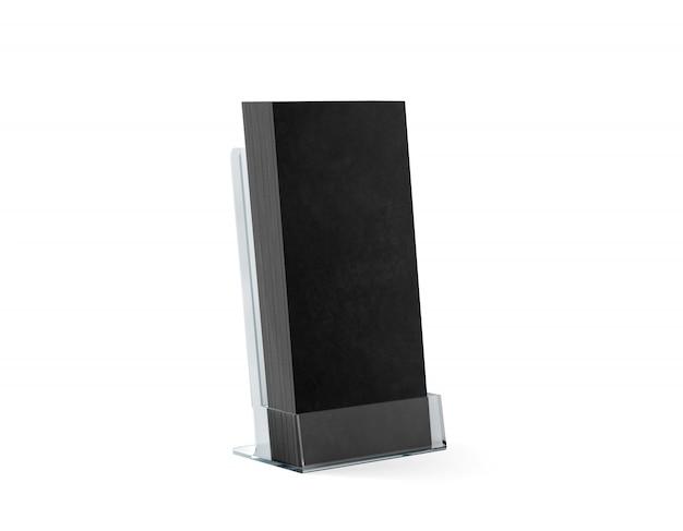 Biglietto da visita nero in bianco in supporto trasparente, isolato Foto Premium