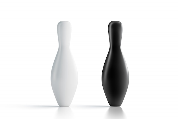 Birilli da bowling bianchi e neri vuoti, vista frontale, Foto Premium