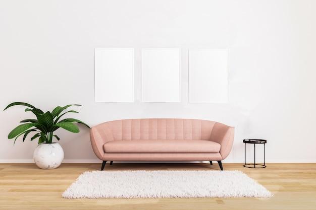 Immagine in bianco in salone con il sofà rosa con il tavolino da salotto nero Foto Premium