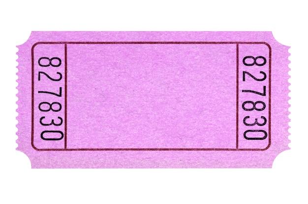 Troncone rosa in bianco del biglietto di lotteria o di film isolato Foto Premium