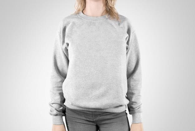 Felpa bianca isolata, felpa con cappuccio semplice da donna Foto Premium