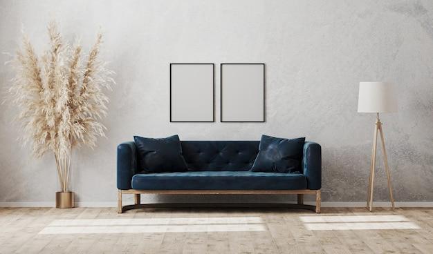 Cornici verticali vuote sulla parete grigia dell'intonaco decorativo nell'interno moderno del salone con divano blu scuro, lampada da terra, rendering 3d Foto Premium