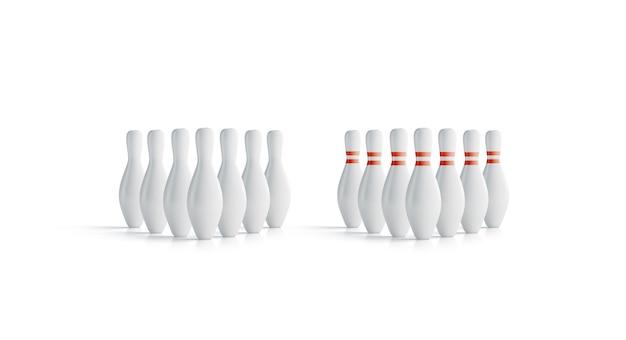 Birilli da bowling bianchi vuoti impostare finto, vista frontale Foto Premium