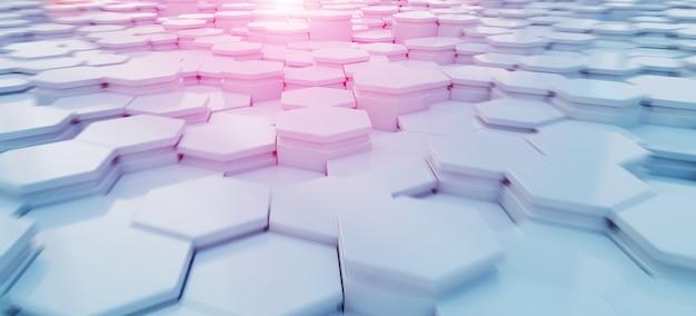 Pattern di sfondo blu e rosa esagoni Foto Premium