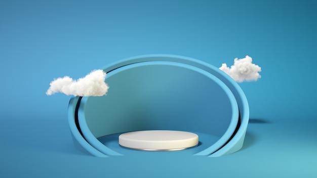 Podio blu con nuvola sulla parete blu. espositore per prodotti. inserisci il tuo prodotto festa del papà. rendering 3d. Foto Premium