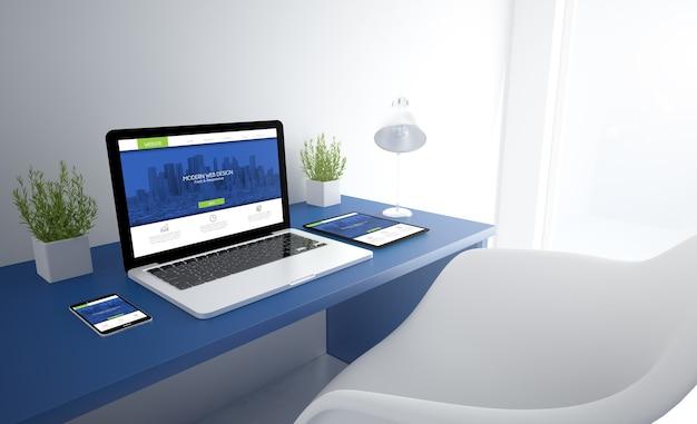 Studio reattivo blu con design reattivo sullo schermo dei dispositivi Foto Premium