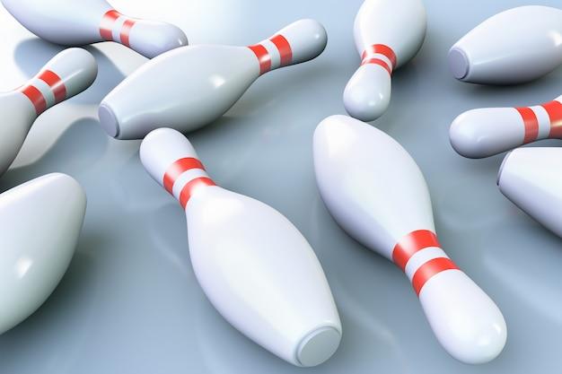 Birilli da bowling sul pavimento. Foto Premium