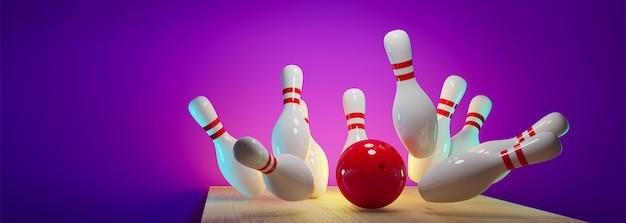 Bowling strike - palla che colpisce i perni nel vicolo Foto Premium