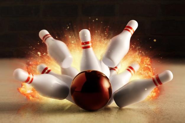 Colpo di bowling con esplosione di fuoco. Foto Premium