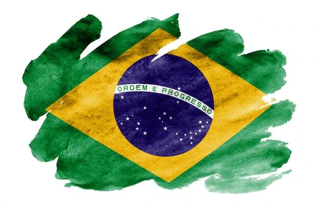 La bandiera del brasile è raffigurata in stile acquerello liquido isolato su bianco Foto Premium