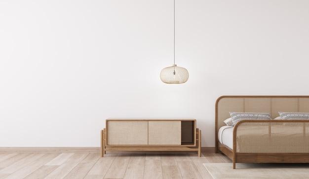 Mockup interno camera da letto luminosa, letto in legno rattan sulla parete bianca vuota Foto Premium