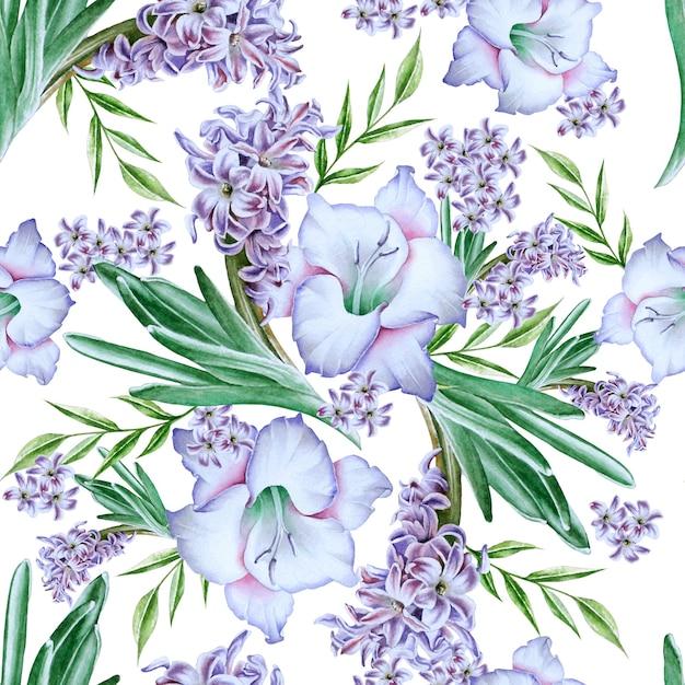 Modello senza cuciture luminoso con fiori. gladiolo. giacinto. illustrazione dell'acquerello. disegnato a mano. Foto Premium