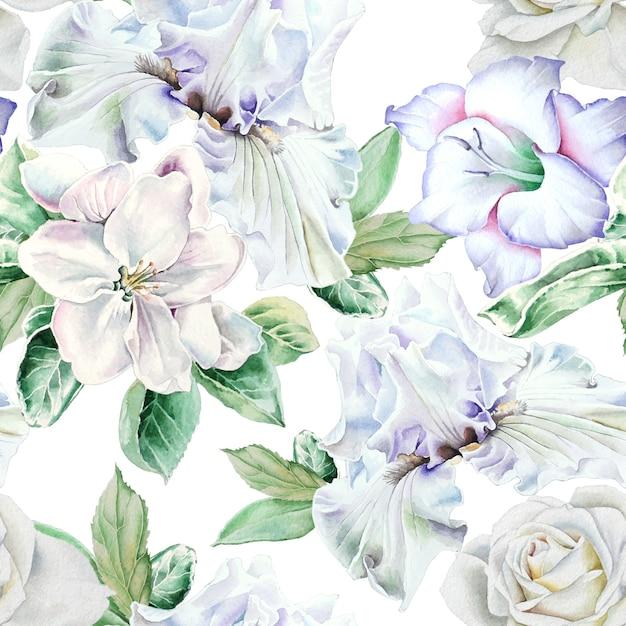 Modello senza cuciture luminoso con fiori. iris. rosa. gladiolo. fiorire. illustrazione dell'acquerello. disegnato a mano. Foto Premium