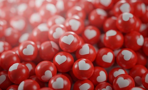 Un mucchio di icone d'amore. concetto di social media Foto Premium