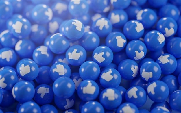 Un mazzo di icone di pollice in su. rendering 3d di sfondo concetto social media Foto Premium