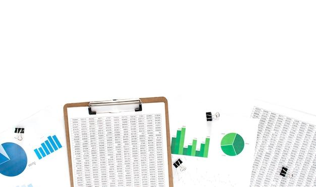 Concetto di affari. documentazione finanziaria, diagramma verde e blu su fondo bianco Foto Premium