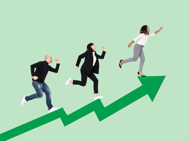 Gli uomini d'affari si precipitano verso il successo Foto Premium