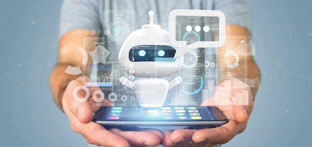 Chatbot della tenuta dell'uomo d'affari con il codice binario, il messaggio ed i dati Foto Premium