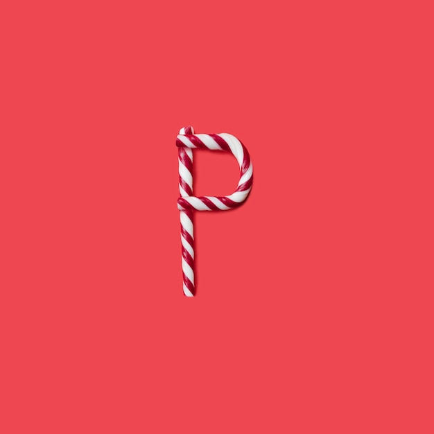 Carattere di caramelle e zucchero. lettera p Foto Premium