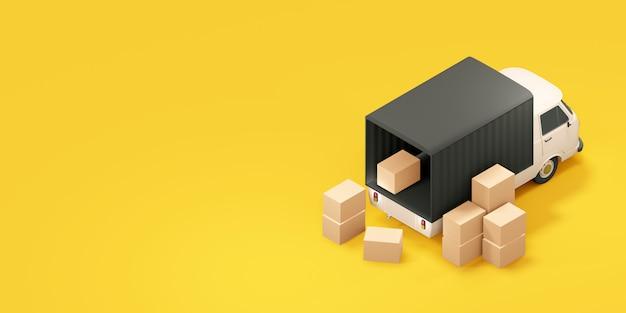 Camion carico con scatole. illustrazione 3d Foto Premium