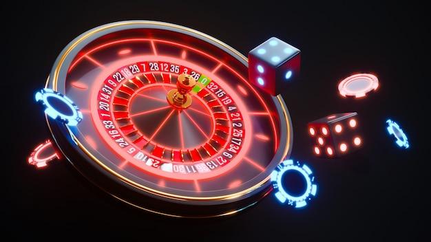 Sfondo al neon del casinò con roulette e fiches da poker che cadono foto premium. Foto Premium