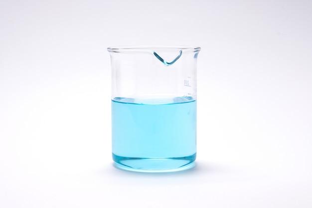 Becher e provetta di ricerca del laboratorio di chimica Foto Premium