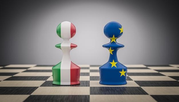 Pedine degli scacchi con bandiera italiana ed europea. Foto Premium